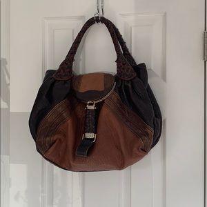 Fendi brown multicolour nappa leather